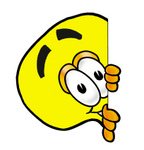 Clip Art Graphic of a Yellow Electric Lightbulb Cartoon Character Peeking Around a Corner