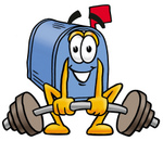 Clip Art Graphic of a Blue Snail Mailbox Cartoon Character Lifting a Heavy Barbell