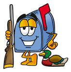 Clip Art Graphic of a Blue Snail Mailbox Cartoon Character Duck Hunting, Standing With a Rifle and Duck