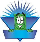 Clip Art Graphic of a Flat Green Dollar Bill Cartoon Character on a Blue Label Logo With a Burst