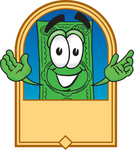 Clip Art Graphic of a Flat Green Dollar Bill Cartoon Character on a Blank Tan Label