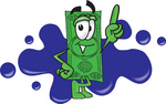 Clip Art Graphic of a Flat Green Dollar Bill Cartoon Character Pointing Upwards and Standing in Front of a Blue Paint Splatter on a Logo