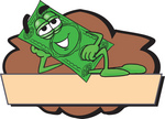 Clip Art Graphic of a Flat Green Dollar Bill Cartoon Character Reclining Over a Tan Label and a Brown Background on a Logo