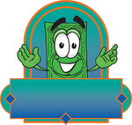Clip Art Graphic of a Flat Green Dollar Bill Cartoon Character on a Blank Green and Blue Label Logo