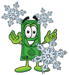 Clip Art Graphic of a Flat Green Dollar Bill Cartoon Character With Three Snowflakes in Winter