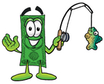Clip Art Graphic of a Flat Green Dollar Bill Cartoon Character Holding a Fish on a Fishing Pole