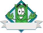 Clip Art Graphic of a Flat Green Dollar Bill Cartoon Character Over a Blank Label Banner on a Logo