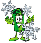 Clip Art Graphic of a Rolled Greenback Dollar Bill Banknote Cartoon Character With Three Snowflakes in Winter