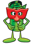 Clip Art Graphic of a Rolled Greenback Dollar Bill Banknote Cartoon Character Wearing a Red Mask Over His Face