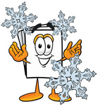Clip Art Graphic of a White Copy and Print Paper Cartoon Character Surrounded by Falling Snowflakes in Winter