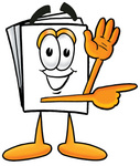Clip Art Graphic of a White Copy and Print Paper Cartoon Character Waving and Pointing to the Right