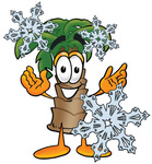 Clip Art Graphic of a Tropical Palm Tree Cartoon Character Surrounded by Falling Snowflakes in Winter