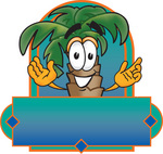 Clip Art Graphic of a Tropical Palm Tree Cartoon Character On a Blank Label