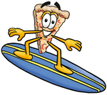 Clip Art Graphic of a Cheese Pizza Slice Cartoon Character Surfing on a Blue and Yellow Surfboard