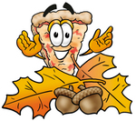 Clip Art Graphic of a Cheese Pizza Slice Cartoon Character With Autumn Leaves and Acorns in the Fall