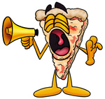 Clip Art Graphic of a Cheese Pizza Slice Cartoon Character Screaming Into a Megaphone