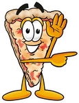 Clip Art Graphic of a Cheese Pizza Slice Cartoon Character Waving and Pointing to the Right