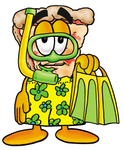 Clip Art Graphic of a Cheese Pizza Slice Cartoon Character in Green and Yellow Snorkel Gear