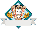 Clip Art Graphic of a Cheese Pizza Slice Cartoon Character on a Blank Label Logo With a White Banner and Blue Diamond