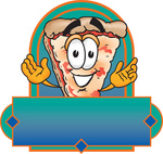 Clip Art Graphic of a Cheese Pizza Slice Cartoon Character on a Blank Label