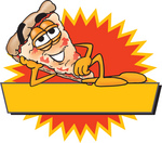 Clip Art Graphic of a Cheese Pizza Slice Cartoon Character Reclining Over a Blank Yellow Banner in Front of an Orange Burst on a Logo Label