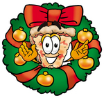 Clip Art Graphic of a Cheese Pizza Slice Cartoon Character in the Center of a Christmas Wreath