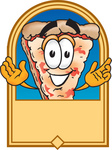 Clip Art Graphic of a Cheese Pizza Slice Cartoon Character on a Blank Tan Label