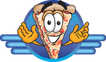 Clip Art Graphic of a Cheese Pizza Slice Cartoon Character on a Blue Logo