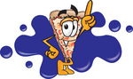 Clip Art Graphic of a Cheese Pizza Slice Cartoon Character Pointing Upwards and Standing in Front of a Blue Paint Splatter on a Logo