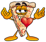Clip Art Graphic of a Cheese Pizza Slice Cartoon Character With His Heart Beating Out of His Chest