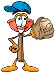 Clip Art Graphic of a Plumbing Toilet or Sink Plunger Cartoon Character Catching a Baseball With a Glove