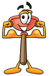 Clip Art Graphic of a Plumbing Toilet or Sink Plunger Cartoon Character Flexing His Arm Muscles