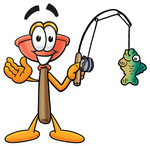 Clip Art Graphic of a Plumbing Toilet or Sink Plunger Cartoon Character Holding a Fish on a Fishing Pole