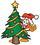 Clip Art Graphic of a Plumbing Toilet or Sink Plunger Cartoon Character Waving and Standing by a Decorated Christmas Tree