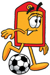 Clip Art Graphic of a Red and Yellow Sales Price Tag Cartoon Character Kicking a Soccer Ball