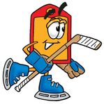Clip Art Graphic of a Red and Yellow Sales Price Tag Cartoon Character Playing Ice Hockey