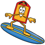 Clip Art Graphic of a Red and Yellow Sales Price Tag Cartoon Character Surfing on a Blue and Yellow Surfboard
