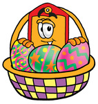 Clip Art Graphic of a Red and Yellow Sales Price Tag Cartoon Character in an Easter Basket Full of Decorated Easter Eggs