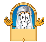 Clip Art Graphic of a Salt Shaker Cartoon Character on a Blank Tan Label
