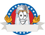 Clip Art Graphic of a Salt Shaker Cartoon Character on a Blank Logo Label With a White Banner, Red Background and Stars Over Blue