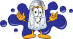 Clip Art Graphic of a Salt Shaker Cartoon Character Standing in Front of a Blue Paint Splatter on a Logo