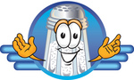 Clip Art Graphic of a Salt Shaker Cartoon Character on a Blue Logo