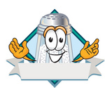 Clip Art Graphic of a Salt Shaker Cartoon Character Over a Blank White Banner With a Blue Diamond on a Label Logo