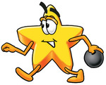 Clip Art Graphic of a Yellow Star Cartoon Character Striding in an Alley While Preparing to Release a Bowling Ball