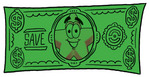 Clip Art Graphic of a Yellow Star Cartoon Character on the Front of a Green Dollar Bill