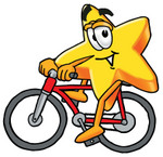 Clip Art Graphic of a Yellow Star Cartoon Character Riding a Red Bicycle