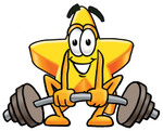 Clip Art Graphic of a Yellow Star Cartoon Character Lifting a Heavy Barbell