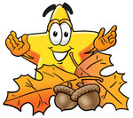Clip Art Graphic of a Yellow Star Cartoon Character With Autumn Leaves and Acorns in the Fall