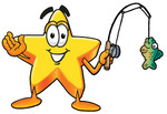 Clip Art Graphic of a Yellow Star Cartoon Character Holding a Fish on a Fishing Pole While Fishing