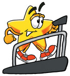 Clip Art Graphic of a Yellow Star Cartoon Character Getting a Good Workout While Walking on a Treadmill in a Fitness Gym